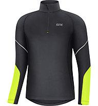 GORE WEAR Mid Long Sleeve Zip - maglia running con zip 1/2 - uomo, Black/Yellow