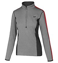 Hot Stuff Layer Solid Damen-Langarmshirt für Ski Alpin, Grey/Red