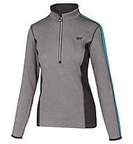 Hot Stuff Layer Solid Damen-Langarmshirt für Ski Alpin, Grey/Light Blue