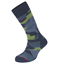 Hot Stuff Calze sci Merino Ski Camo Man, Camouflage Blue/Green