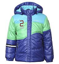 Icepeak Jason Kd Kinder Skijacke mit Kapuze, Navy/Light Blue/Green