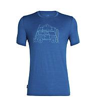 Icebreaker Tech Lite Crewe Surfspot Camper - t-shirt sportiva - uomo, Blue