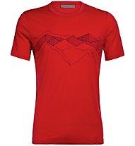 Icebreaker Tech Lite Crewe Peak Patterns - Merinoshirt - Herren, Red