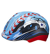 KED Meggy Trend Police - casco bici - bambino, Light Blue/Red