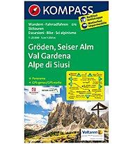 Kompass Carta N.076: Val Gardena, Alpe di Siusi 1:25.000, 1:25.000