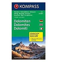Kompass Carta N° 672 Dolomiti - Set di 4 carte, 1: 35.000