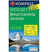 Kompass Carta Nr. 87 Breuil-Cervinia, Zermatt 1:50.000