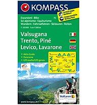 Kompass Karte N.75: Valsugana, Trento, Piné, Levico, Lavarone 1:50.000, 1:50.000
