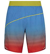 La Sportiva Medal - pantaloni corti trail running - uomo, Light Blue/Red/Yellow