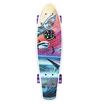 Maui and Sons Printed PU Kicktail Wave Predators Micro-Cruiser Skateboard, Multicolor