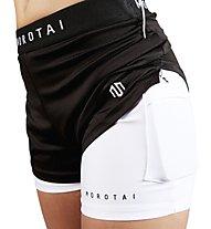 Morotai Naka - pantaloni corti fitness - donna, Black/White