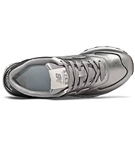 New Balance 574 Metallic Leather - Sneaker - Damen, Grey/Black