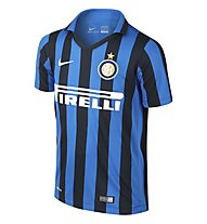 Nike 2015 Inter Milan Stadium Home - T-shirt da calcio bambino, Black/R. Blue/F. White