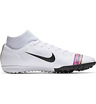 Nike CR7 SuperflyX 6 Academy TF - scarpa calcio terreni duri, White/Black/Platinum