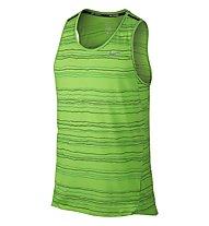 Nike DF Cool Tailwind Stripe Tank - ärmelloses Laufshirt, Green