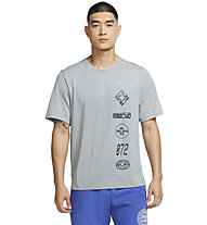 Nike Dri-FIT Miler Wild Run Graphic Running - Running T-Shirt - Herren, Grey