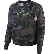 Nike Dri-FIT Fleece Camo Training Top - Pullover - Damen, Green/Brown