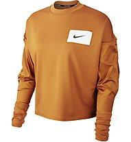 Nike Dry-Fit Running Crew - maglia running maniche lunghe - donna, Orange