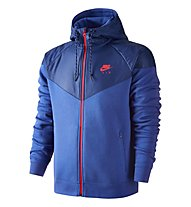 Nike Fleece Windrunner giacca ibrida con cappuccio, Game Royal/HTR/Bright Crimson