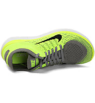 Nike Free 4.0 Flyknit W - Scarpe Natural Running, Volt Light Charcoal