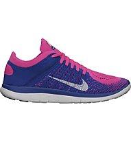 Nike Free 4.0 Flyknit W - Scarpe Natural Running, Pink/Blue