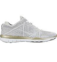 Nike Free TR Flyknit Metallic - Gymnastikschuh Damen, White