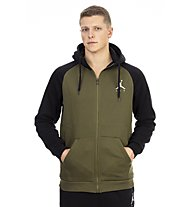 Nike Jordan Sportswear Jumpman Fleece Men's Full-Zip Hoodie - felpa con cappuccio, Black/Dark Green