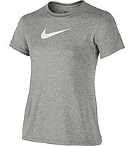 Nike Legend Girls' Short Sleeve Training Shirt - T-shirt ragazza, DK Grey Heather/White