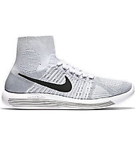 Nike Lunarepic Flyknit Scarpa Running Donna, White/Black