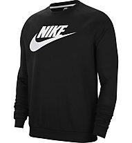 Nike M NSW Fleece Crew - Pullover - Herren, Black/White