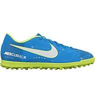 Nike Mercurial Vortex III Neymar TF - Hartplatz-Fußballschuhe, Blue/Green