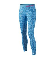 Nike Pro Allover Print Tight Ragazza, Blue Lagoon/Pink Pow/White