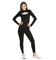 Nike Pro Warm Mesh Vnr - pantaloni fitness - donna, Black
