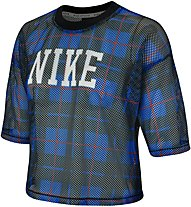 Nike Sportswear NSW Women's Short-Sleeve Mesh Top - T-Shirt - Damen, Blue/Black