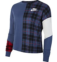 Nike Sportswear Women's Long-Sleeve Top - Langarmshirt - Damen, Blue/White
