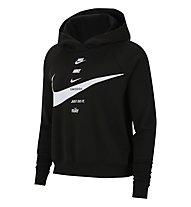 Nike Swoosh W's Brushed Fleece - felpa con cappuccio - donna, Black/White