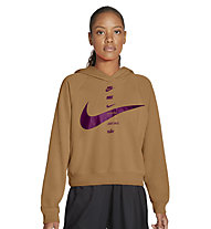 Nike Swoosh W's Brushed Fleece - felpa con cappuccio - donna, Brown/Purple