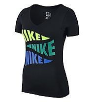Nike Tee-V Varsity Pennant T-Shirt fitness donna, Black