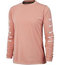Nike Swoosh Running Top - maglia maniche lunghe running - donna, Rose