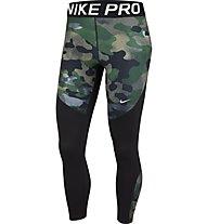 Nike Pro Camo - pantaloni fitness - donna, Black/Green/Brown