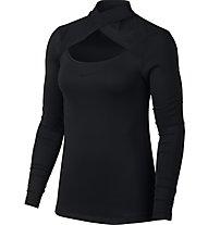Nike Pro Warm Top Mesh Neck LS - Langarmshirt - Damen, Black