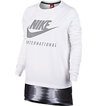 Nike Women International Top - langärmliges Damen-Fitnesstop, White