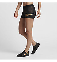 Nike Pro Cool Gold Short - pantaloncini da ginnastica donna, Black/Metallic Gold