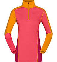 Norrona Equaliser Merino - felpa con zip - donna, Orange/Pink