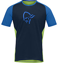 Norrona fjørå wool - T-Shirt - Herren, Blue/Green