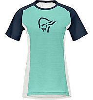 Norrona fjørå wool - T-Shirt - Damen, Green/White/Blue