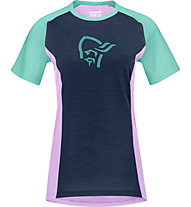Norrona fjørå wool - T-Shirt - Damen, Blue/Pink/Green