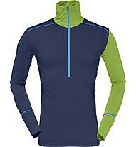 Norrona Wool Zip Neck - Langarmshirt mit Reißverschluss - Herren, Blue