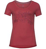 Odlo Bl Crew Neck F-Dry Print - T-Shirt Wandern - Damen, Red