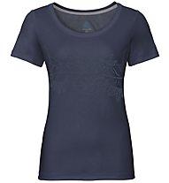 Odlo Bl Crew Neck F-Dry Print - T-shirt - donna, Blue